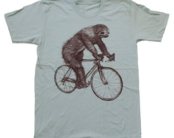 tree SLOTH on a Bicycle - American Apparel Mens T Shirt - xs s m l xl xxl - Seafoam