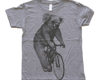 Koala on a Bicycle - Kids T Shirt 2 4 6 8 10 12 Athletic Grey American Apparel