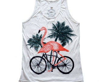 Flamingo on a bicycle- Mens Tank top, Unisex tank, Cotton Tank top, Handmade graphic tee, Bicycle shirt, Bike Tee, sizes xs-xxl