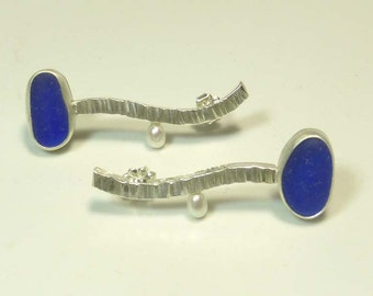 Cobalt Blue Seaglass Earrings with pearls
