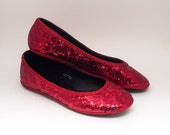 Ready 2 Ship | Size 9 Sequin Starlight Tiny Sequin Red Ballet Flat Slipper Custom Shoes