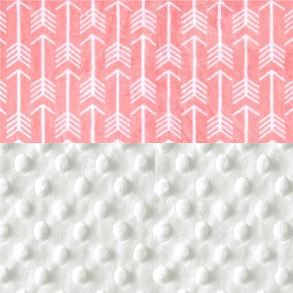 Personalized Baby Blanket Girl, Coral & White Arrow Minky Blanket stroller - Nursery Decor - Arrow Blanket