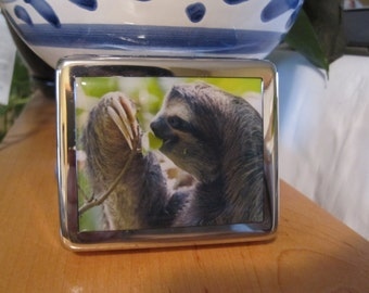 Sloth Pillbox Pill Box with Mirror