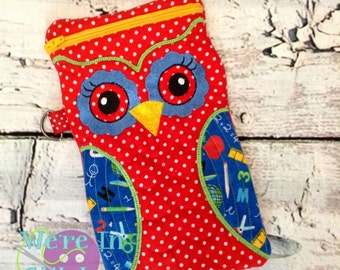 Owl Case, Owl Quilted Bag, Owl Zipper Case, Owl Fabric Case, Owl Iphone Case, Owl Universal Bag, Owl Accessory Bag, Accessory Case