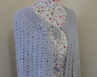 Ready to ship - Grey Silver Shawl, Mohair Knit Crochet Shawl, Winter Grey Wedding Wrap, Bridal Shrug Bolero, Wedding Shawl, Handmade poncho