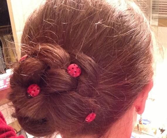 Darling Ladybug Hair Swirls Set of 6 Hair Spins Coils Twists Twisties Spirals