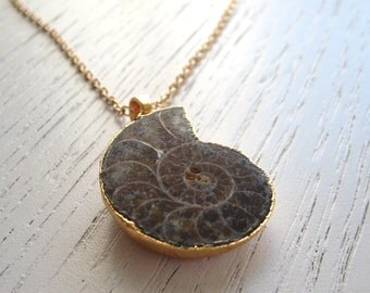 Lovely Gold Electroplated Ammonite Fossil Pendant