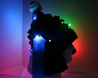 Light up Christmas tree hat. One of a kind with working lights! -  currently made to order - Christmas delivery available