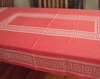 Salmon Pink Rayon Tablecloth With Woven Greek Key Borders 54 X 82 In.,  Striking
