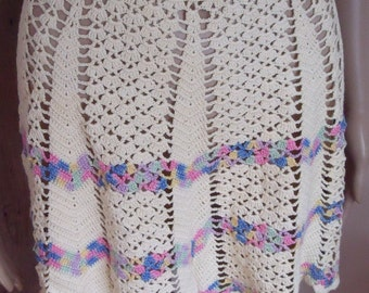 1970s Vintage Handmade Crocheted Hostess Apron Ecru Pink Blue