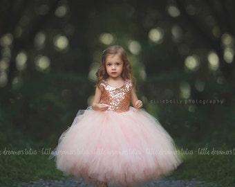 The Juliet Dress in Blush Sequins - Flower Girl Dress