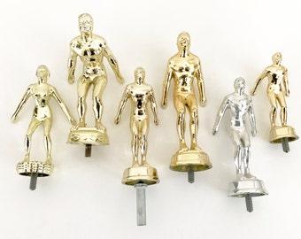 Vintage Trophy Parts Swimmers Cast Metal Bottle Toppers Craft Supplies Sport Memorabilia Gold Silver Cast Metal
