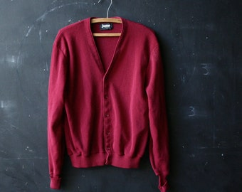Vintage Mens Golf Sweater Burgundy Oversized Boyfriend Cardigan Sweater 60s Vintage From Nowvintage on Etsy