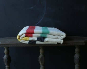 Vintage Wool Blanket Hudson Bay Style Multi Color Trappers Red Yellow Green Black Stripe Blanket Vintage From Nowvintage on Etsy