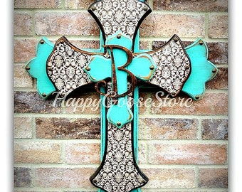 Wall CROSS - Wood Cross - Large - Antiqued Turquoise with Brown Damask and Initial