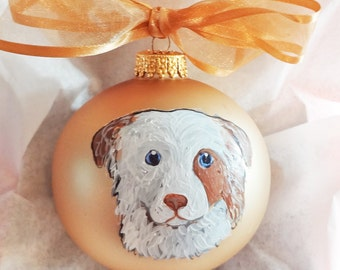 Australian Shepherd Dog Red Merle Sweet Face Hand Painted Christmas Ornament - Can Be Personalized with Name