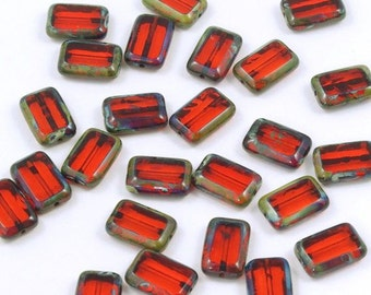 Czech Glass Orange Hyacinth Picasso Rectangle 8x12 Window Beads - 12