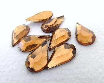 Vintage Glass Cabochon Light Smoked Topaz Pear Teardrop Faceted Mirror Rhinestone 13x8mm gcb1190 (8)