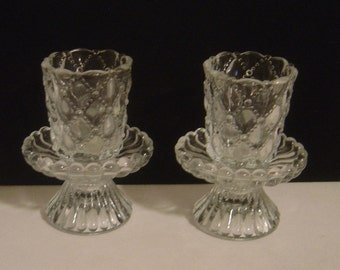 Two Colonial Votive Candle Holders quilted diamond pattern 4 pieces