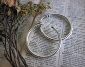 Large Sterling Silver latch hoop earrings