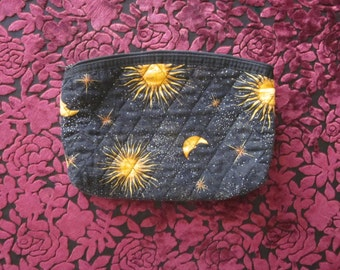 Black and Gold quilted Moon, Sun and Star Astrology zipper cosmetic bag