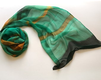 Hand painted scarf- Deep Forest/ Stripes silk chiffon scarf/ Emerald green scarf painted/ Lightweight scarf/ Birthday gift for mom