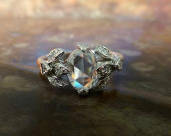 Rose cut oval diamond engagement ring. Rose cut diamond leaf ring. 14k white gold. Gorgeous design. Unique ring.