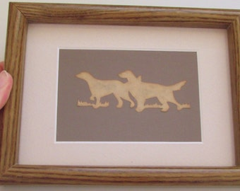 Vintage framed/matted silhouette art of dogs - SCHERENSCHNITTE which means German scissor cutting