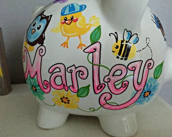 Baby Birds and Owls Personalized Piggy Bank Hand Painted Bright Flowers