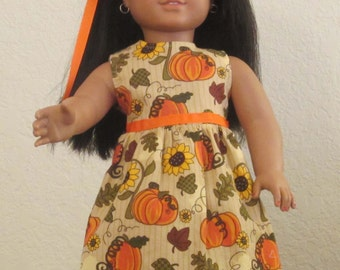 Pumpkins and Sunflower Dress 18 inch doll clothes