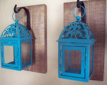 Turquoise lanterns on boards (2), wall decor,  wall sconces, housewarming gift, wrought iron hook, rustic wood boards