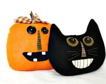 Primitive Halloween Decor - Vintage Black Cat - Jack-o-Lantern - Halloween Cat Decoration - Primitive Bowl Fillers - Primitive Pumpkin Face
