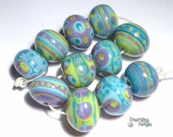 ALIEN BOBS Handmade Lampwork Bead Set in MIx of Green Blue Purple - Set of 11