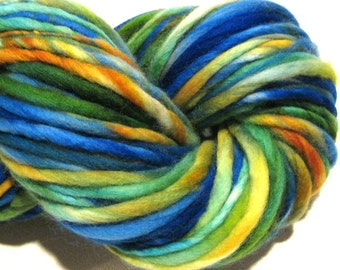 Handspun Yarn Lagoon 120 yards blue yarn green yarn yellow yarn hand dyed merino wool knitting supplies  waldorf doll hair knitting supplies