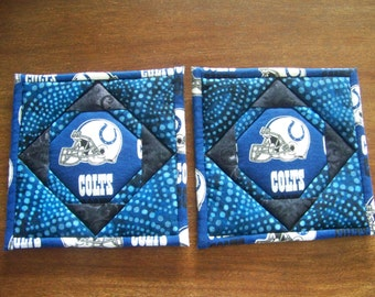 Indianapolis Colts - quilted potholders, pair