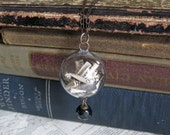 Word Antique Paper Crystal Ball Orb Necklace with Victorian Glass Button