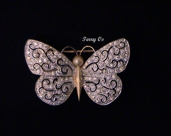 Vintage PANETTA Pave Rhinestone Butterfly Brooch