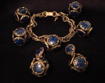 Vintage TRIFARI 'Renaissance Lapis Art Glass Charm Bracelet & Drop Earrings Set