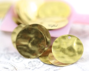 Hammered or Wavy Textured 14mm Round Brass Tags with ONE Hole - 50