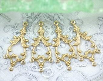 Ornate Raw Brass 34x15mm Pagoda Chandelier Triple Loops Earring Dangle Charms Pendants Drops - 4