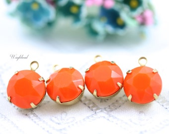 Orange Vintage Round Faceted 11mm Set Stones 1 Ring Closed Back Brass Prong Settings - 4 .