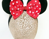Baby Minnie Ears Girls Stretch Headband Red Polka Dot Bow Mickey Mouse Ears Band Photography and Halloween Costume  Prop