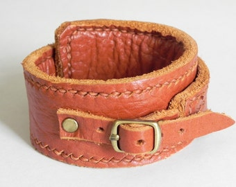 Whisky Tan Leather Cuff Leather Wrap Bracelet Leather Bracelet Buckle Clasp