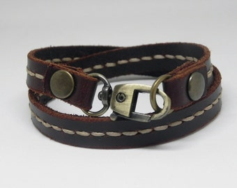 Double Round Brown Leather Bracelet Wrap Leather Bracelet with Metal Alloy Clasp Hand Stitched