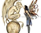 SALE Fairy and Gargoyle 8.5x11 PRINT Gargoyle Kiss by Amy Brown