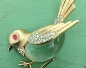 SALE Vintage Trifari Signed Sparrow Bird Jelly Belly Brooch Pin