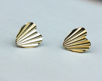Starburst Heart Studs - Silver or Gold Plated