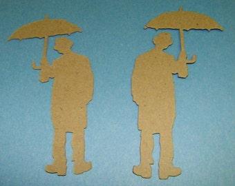 Umbrella Man  Kraft Chipboard Die Cut Pack of 4 DIY Tim Holtz Alterations