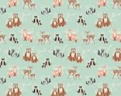 Oh, Hello, Bear, Main, Meadow, Mint, Blue, Gray, Black, Brown, Designer, Cotton, Art, Gallery, Fabrics, Baby, Boy, Unisex, In Custom Cuts