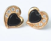 Avon Heart Earrings Black Center Clear Rhinestones Posts Vintage